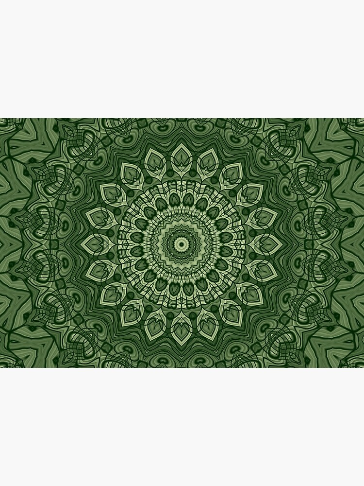 Green Kaleidoscope Mandala Arabesque Pattern by RootSquare