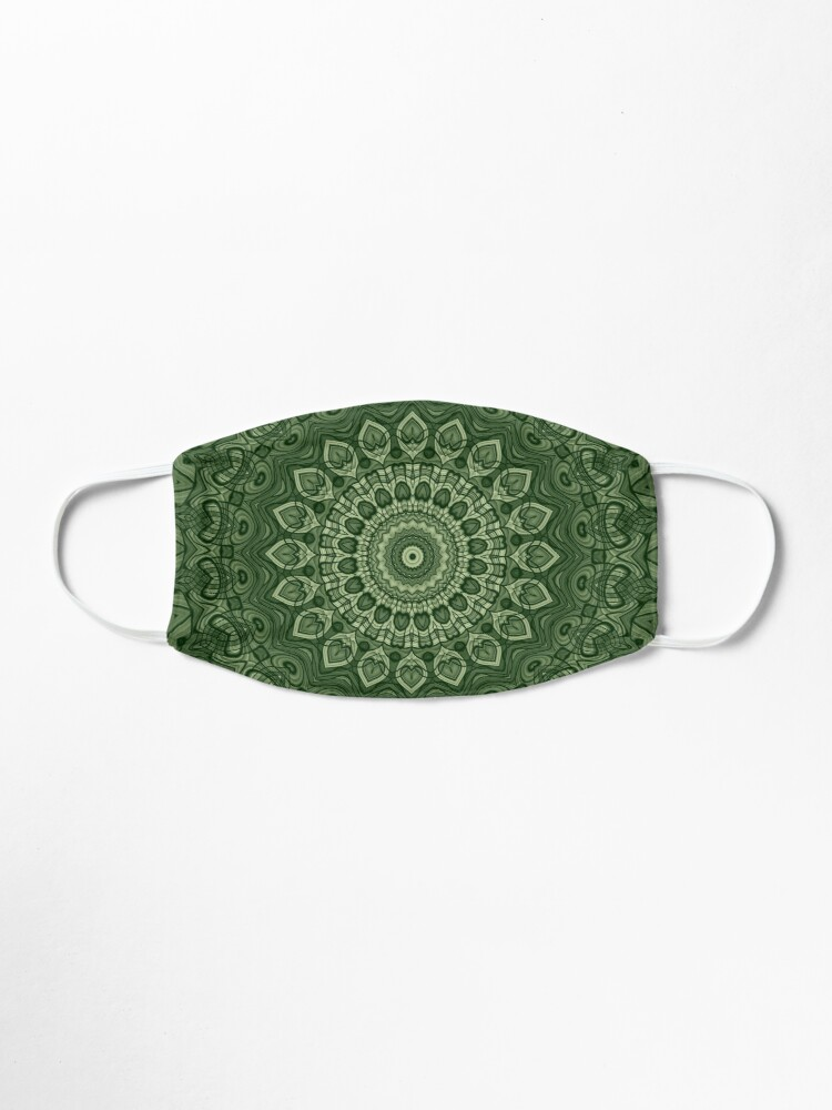 Alternate view of Green Kaleidoscope Mandala Arabesque Pattern Mask