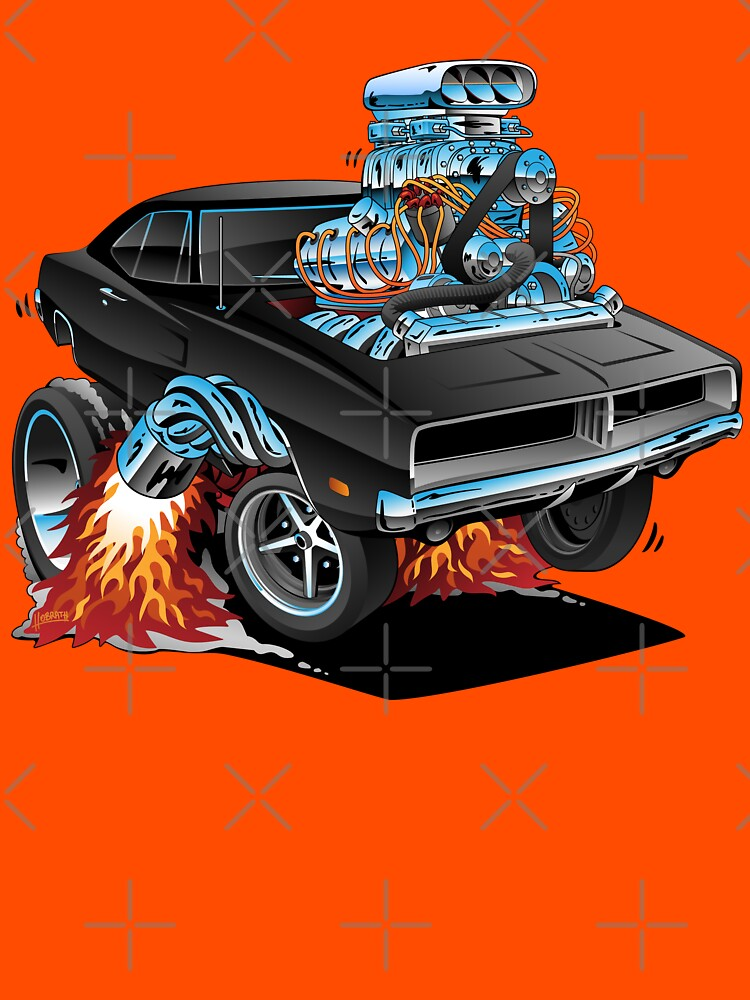 Classic 69 American Muscle Car Cartoon by hobrath