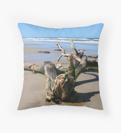 Driftwood on the 4WD Beach, NSW Throw Pillow
