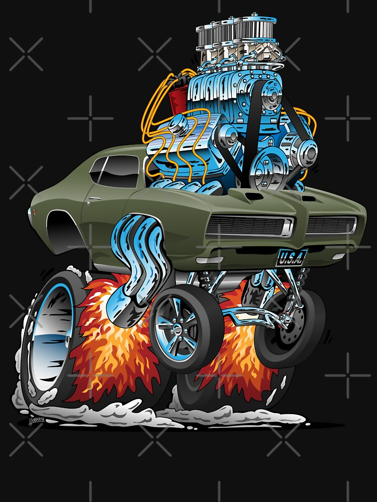 Classic American Muscle Car Hot Rod Cartoon Vector Illustration by hobrath