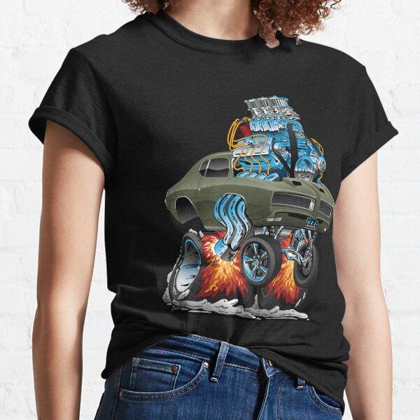 Classic American Muscle Car Hot Rod Cartoon Vector Illustration Classic T-Shirt