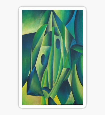 Cubist Abstract Of Village Woman Wearing A Headscarf Sticker