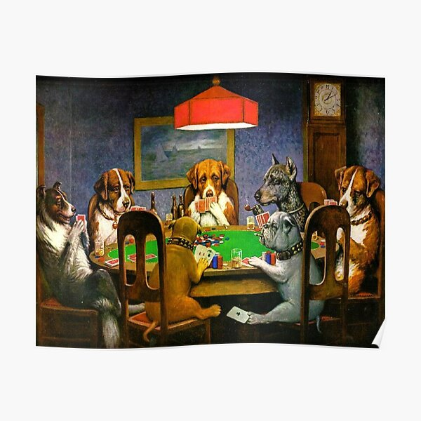 DOGS PLAYING POKER. A Friend in Need. Cassius Marcellus Coolidge. 1903. Poster