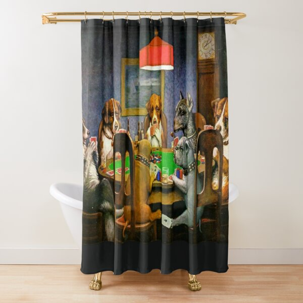 DOGS PLAYING POKER. A Friend in Need. Cassius Marcellus Coolidge. 1903. Shower Curtain