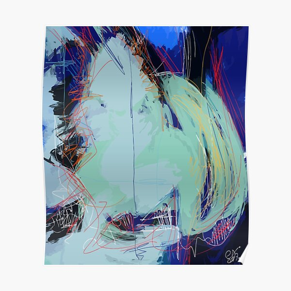 Blue Abstract Composition Poster