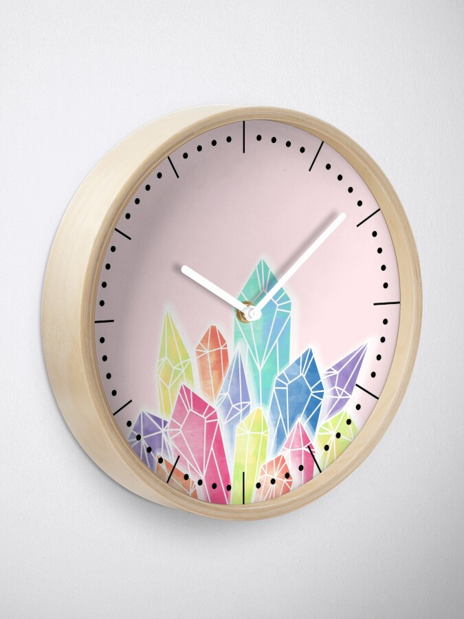Alternate view of Crystals Pink Clock