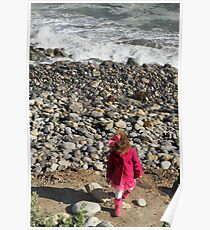 Pink on Pebble Beach, Girl Throwing Stones, Los Angeles Poster