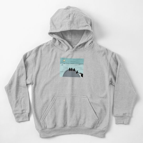 Penguin Family Goes on a Whale Watching Expedition Kids Pullover Hoodie