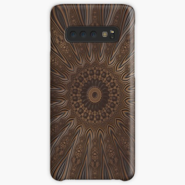 Faux Leather Brown Floral Pattern Samsung Galaxy Snap Case