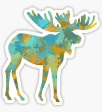 Moose Watercolor Art Sticker