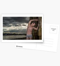 Dramatic Sky with Hot Model on the Thames in London with Andrew Postcards