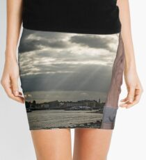Dramatic Sky with Hot Model on the Thames in London with Andrew Mini Skirt