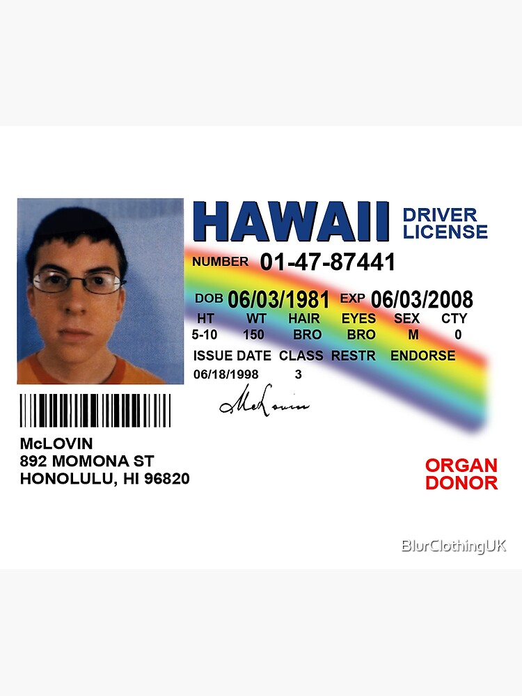 Superbad Fake ID License by BlurClothingUK