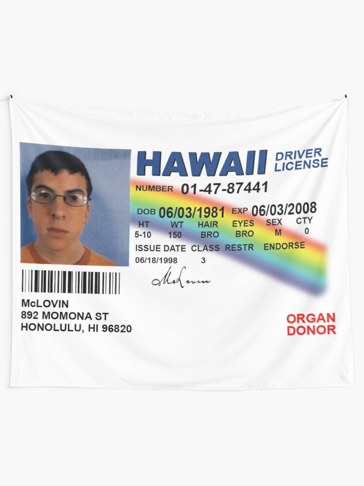 Alternate view of Superbad Fake ID License Tapestry