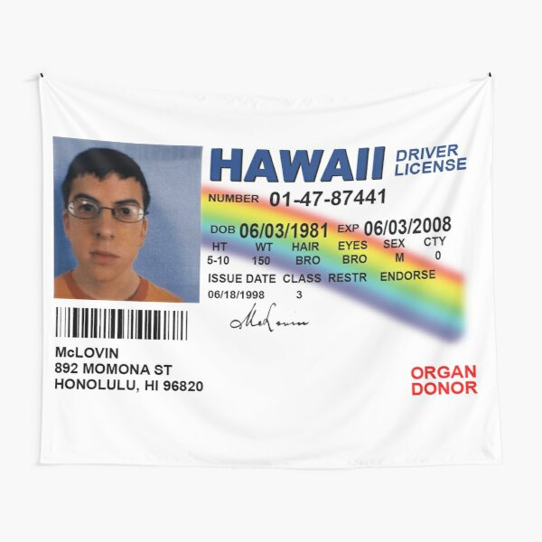 Superbad Fake ID License Tapestry