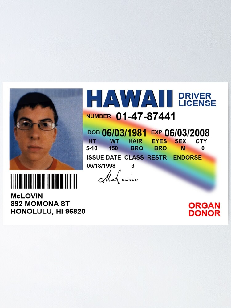 Alternate view of Superbad Fake ID License Poster