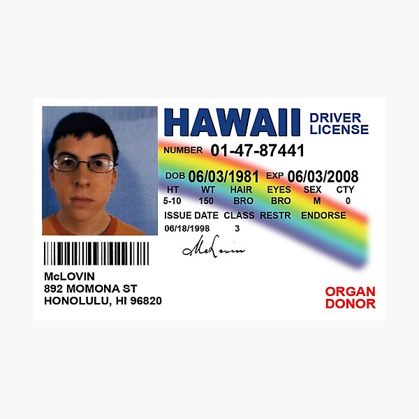 Superbad Fake ID License Photographic Print