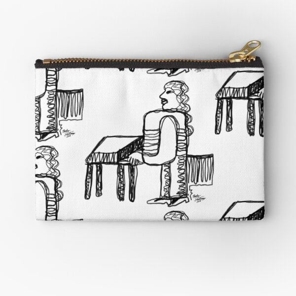 Boxy Woman Playing Piano Zipper Pouch