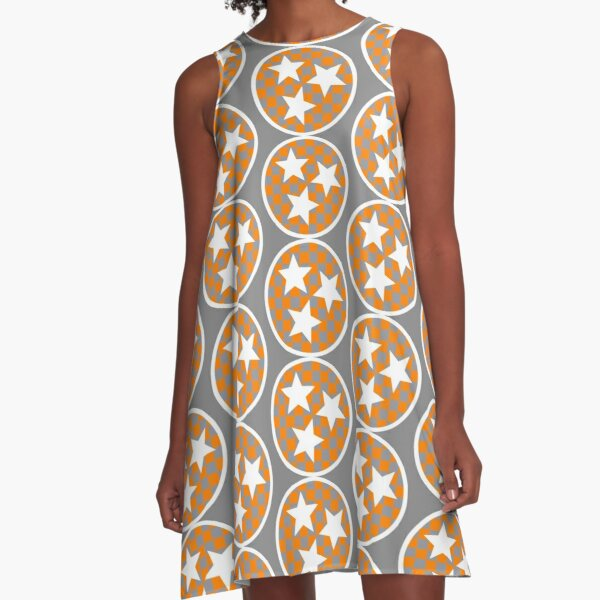 Tennessee Gray And White Checkerboard Tri-Star A-Line Dress