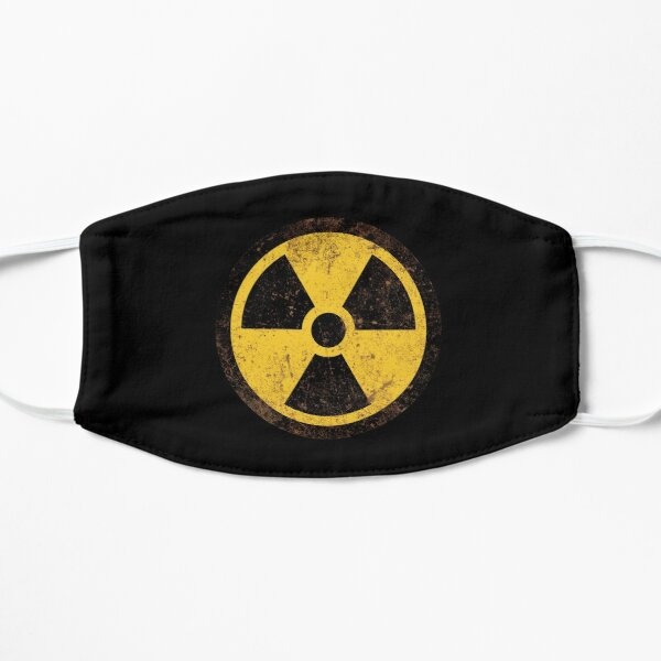 Vintage Warning Nuclear Radioactive Sign Distressed Flat Mask