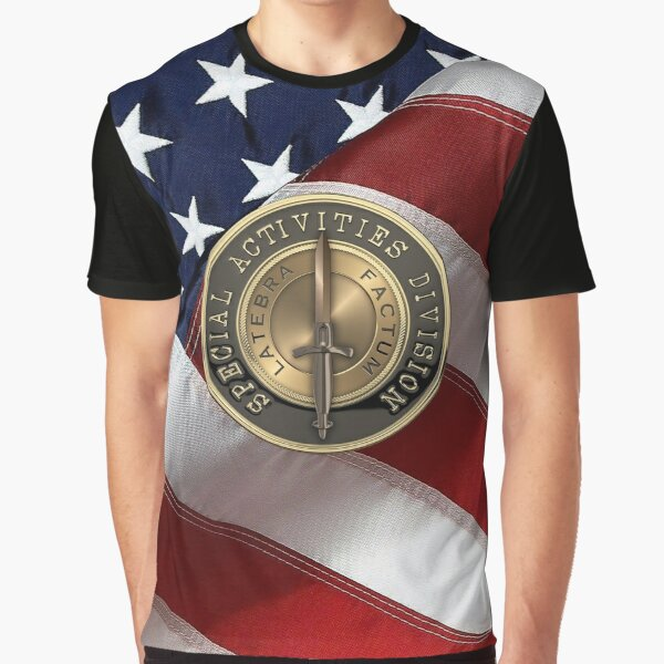 CIA Special Activities Division - SAD Emblem over American Flag Graphic T-Shirt