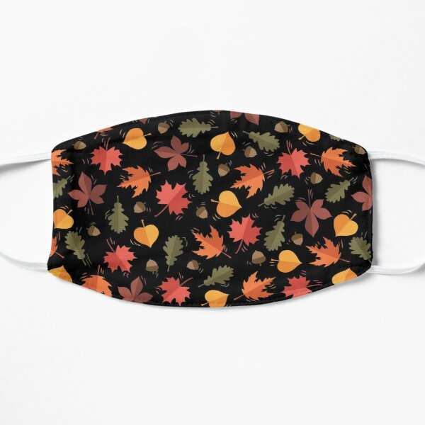 Autumn Leaves Pattern Black Background Mask
