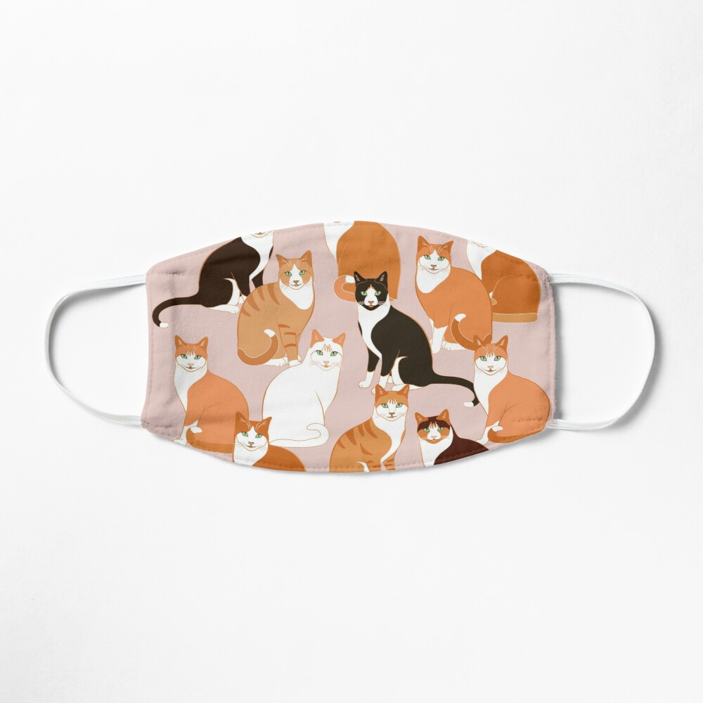 Ginger Cats on pink (with stickers) Mask
