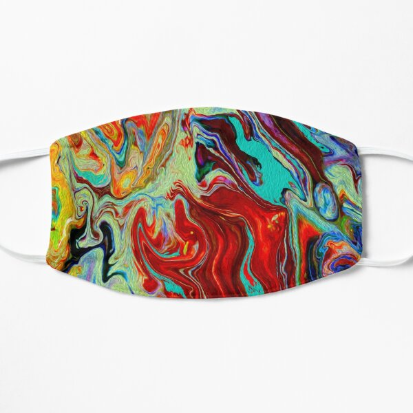 Poured Paint - Bright, Trendy and Colorful Abstract Print Flat Mask