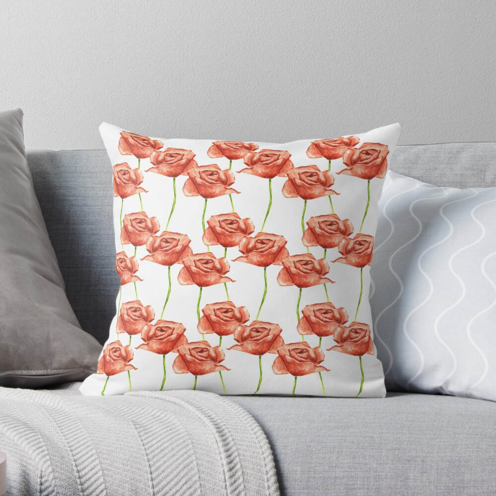 Poppy Flower Watercolor Painting Pattern Backpack Throw Pillow