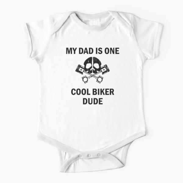Childrens Kids White Baby Biker Bike Slogan T-Shirt Boy On Motorcycle Image