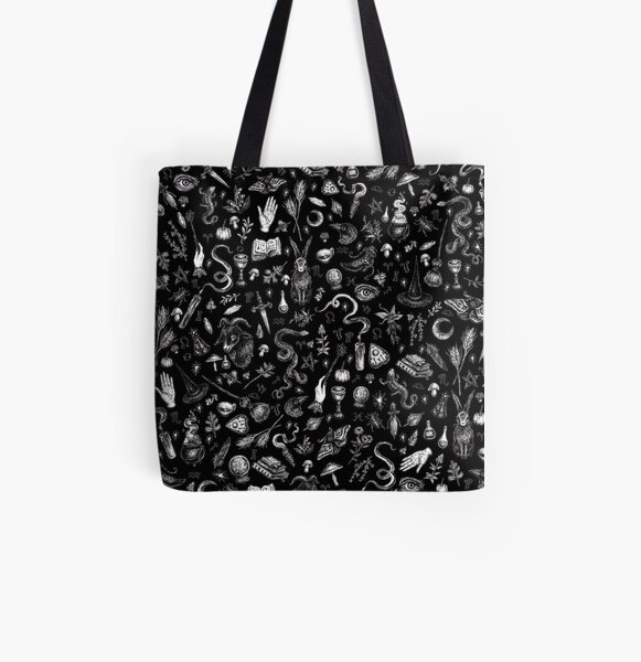 Salem Witch in Black All Over Print Tote Bag