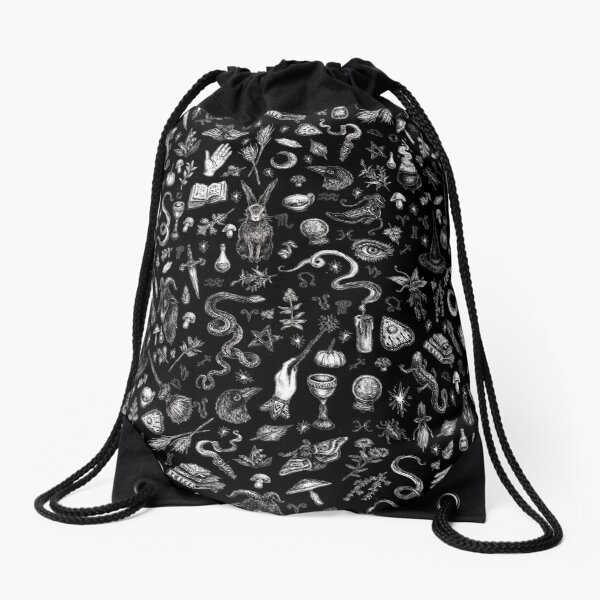 Salem Witch in Black Drawstring Bag