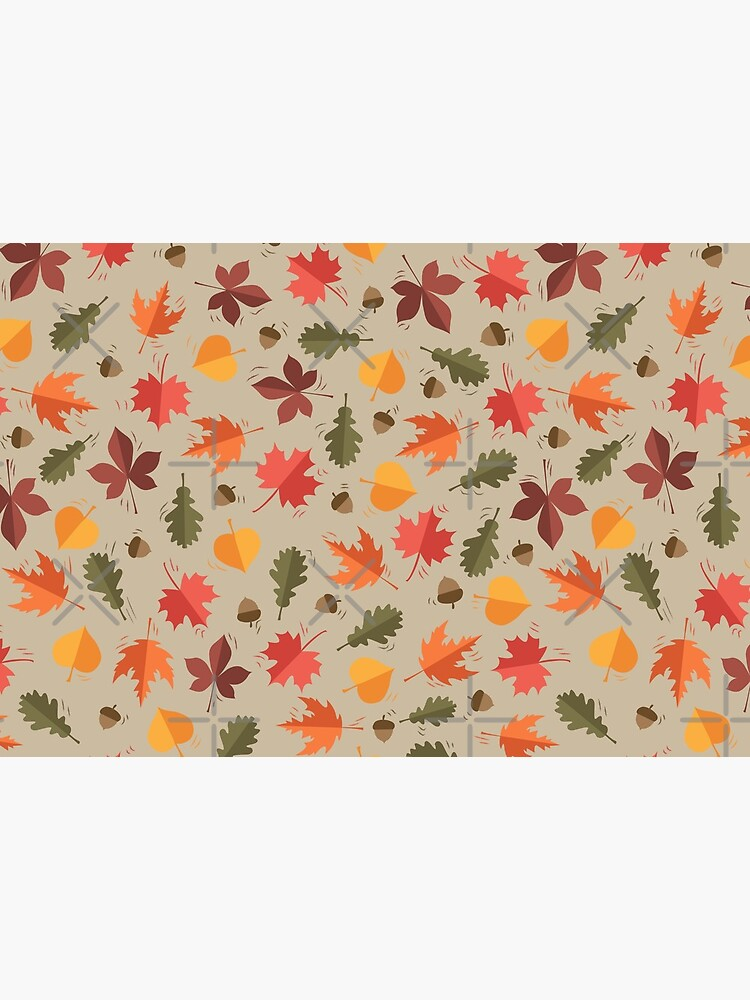 Autumn Leaves Pattern Beige Background by PrintablesP