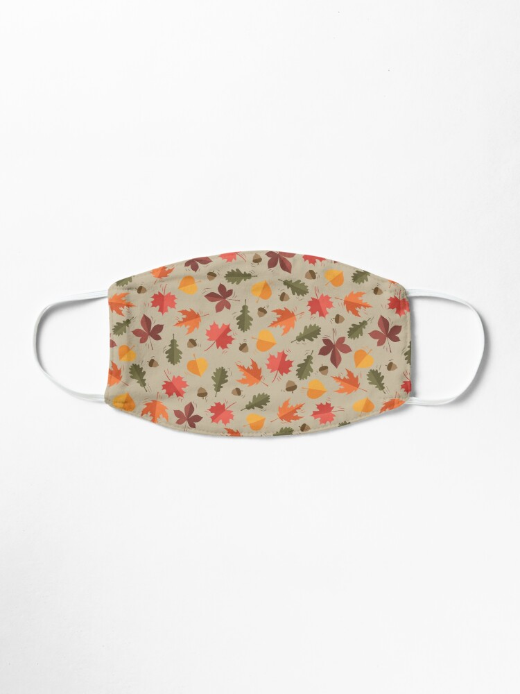 Alternate view of Autumn Leaves Pattern Beige Background Mask