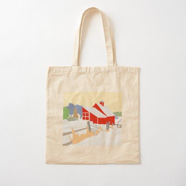 Winter Barn scene Cotton Tote Bag