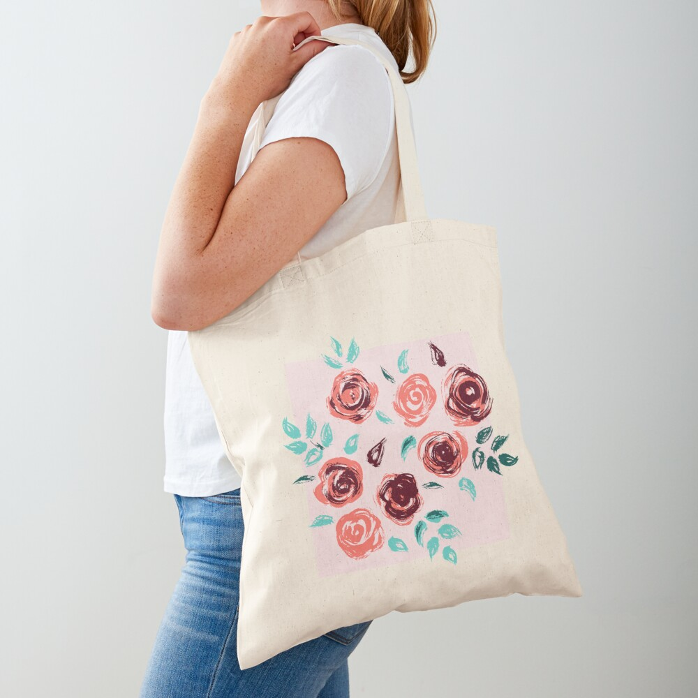 Brushstroke Roses Tote Bag