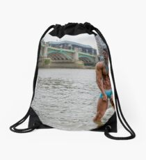 Hot Model on the Thames in London with Kenolivier Drawstring Bag
