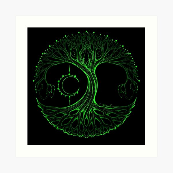 Dreamie's Tree of Life Electric Green Art Print