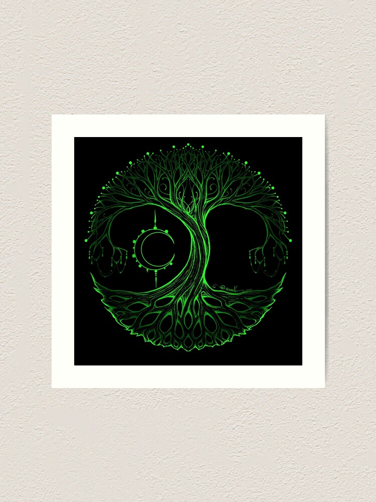 Alternate view of Dreamie's Tree of Life Electric Green Art Print