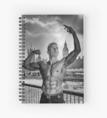 Dramatic Sky with Hot Model on the Thames in London  Spiral Notebook