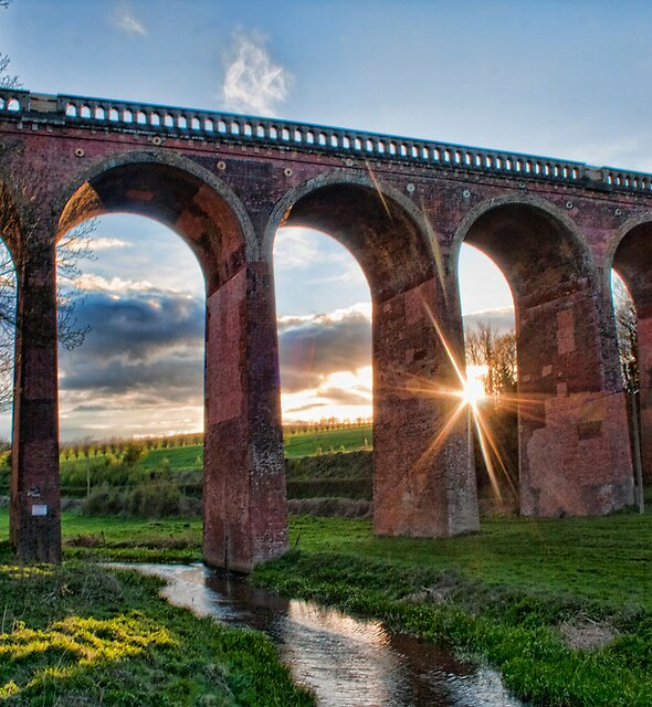 Sunset at Eynsford Viaduct by Dave Godden