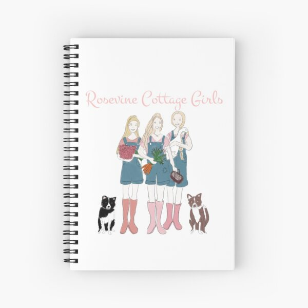 Rosevine Cottage Girls and Border Collies Spiral Notebook
