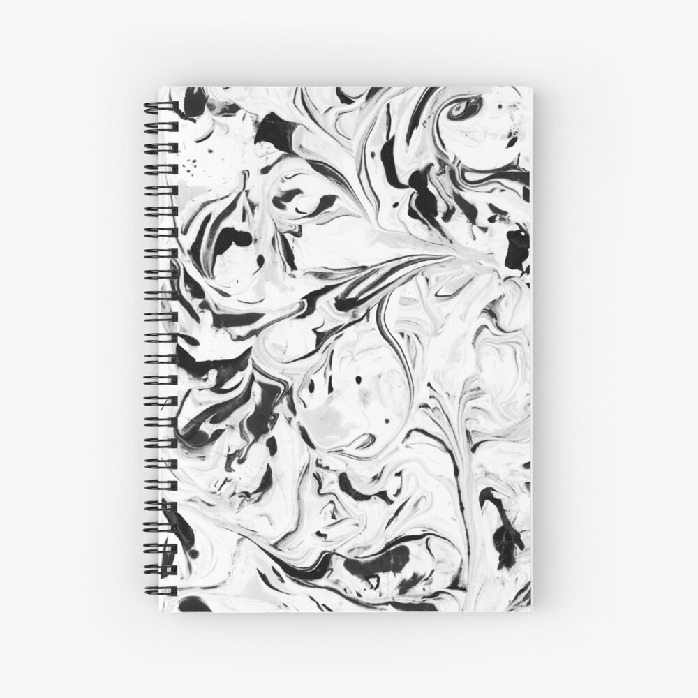 Black and White Marble Spiral Notebook