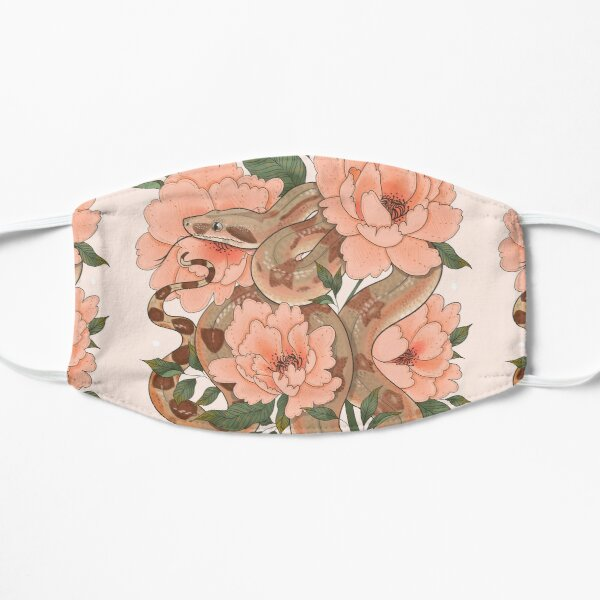 Peaches the Boa constrictor with Peonies Flat Mask