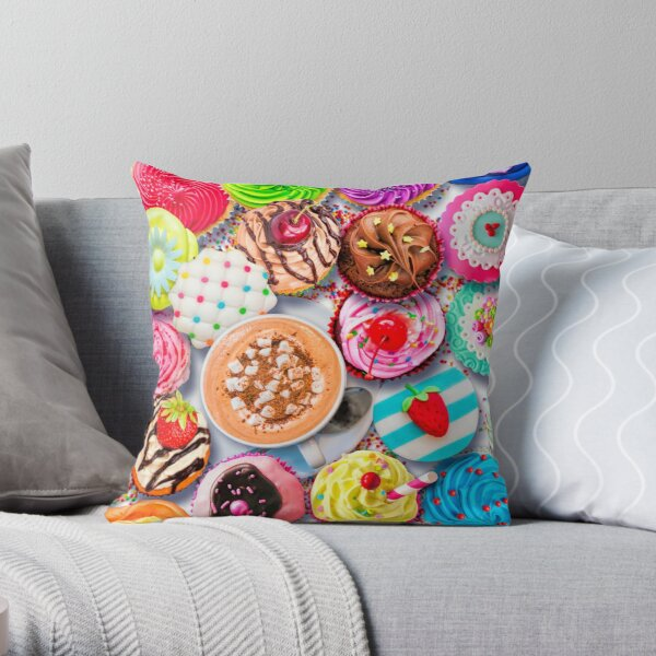 Cupcakes and Cocoa Throw Pillow