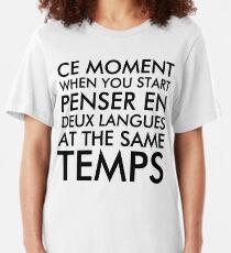 Camiseta ajustada Pensando en francés e inglés