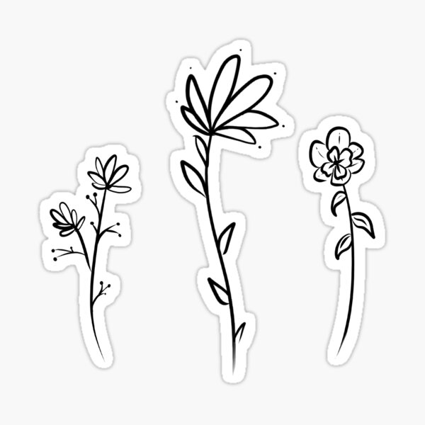 minimalist flowers Sticker
