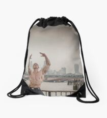 Dramatic Sky with Hot Model on the Thames in London Mark in colour Drawstring Bag