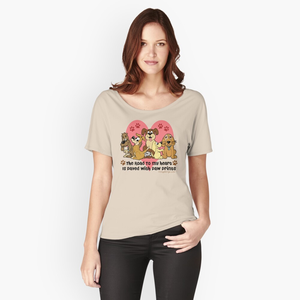 The Road To My Heart Dog Paw Prints Women's Relaxed Fit T-Shirt Front